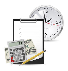 dollars note and pen classic office clock and vector image vector image