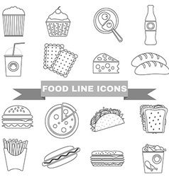 Fast Food and Snacks Big Icons Set vector image