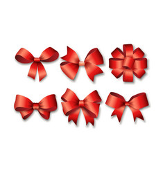 red ribbons set for gifts vector image