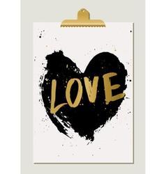 Black Heart Love Poster vector image vector image