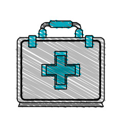 Color crayon stripe cartoon first aid kit with vector