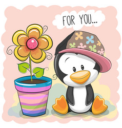 cute cartoon penguin with flower vector image