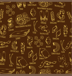 italian pasta seamless pattern with macaroni vector image vector image