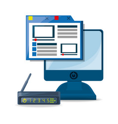 webside router internet and computer concept vector image