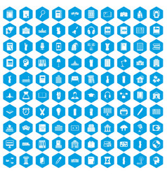 100 library icons set blue vector