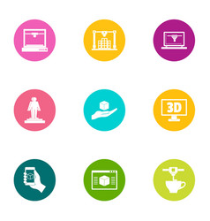 3d icons set flat style vector