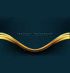 abstract dark blue gold line curve with text vector image