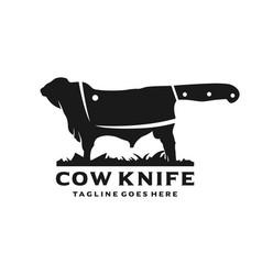 Angus cattle farm logo and knife vector