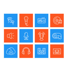 Audio line icons set sound recording microphones vector