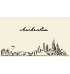 Australia skyline drawn sketch vector