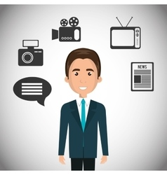 Avatar journalist man with news icons vector