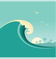 big ocean wave and tropical island poster vector image