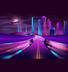 bikers racing on metropolis highway vector image