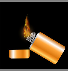 burning gold lighter vector image