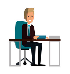 Businessman in workplace avatar character icon vector