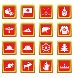 Canada travel icons set red vector