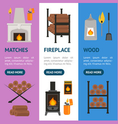 cartoon fireplace banner vecrtical set vector image