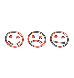 cartoon hand drawn smiley face icon in comic vector image
