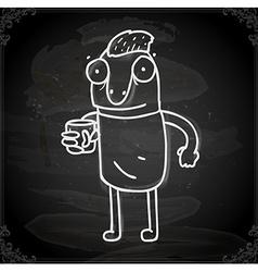 Cartoon Man Drawing on Chalk Board vector