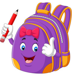 Cartoon purple school backpack holding pencil vector