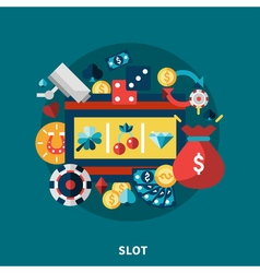 Casino slot icons round composition vector