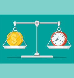 Clock and money on balance scales vector