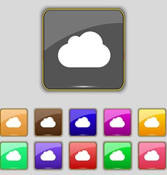 cloud icon sign Set with eleven colored buttons vector image
