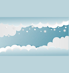 Clouds background with snowflakes in paper cut vector