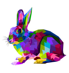 Colorful rabbit on pop art style vector