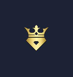 crown king abstract gold logo vector image