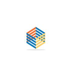 cube line 3d colorful logo vector image