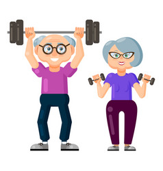 cute old man and old woman doing fitness vector image
