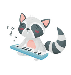 Cute raccoon with a synthesizer vector