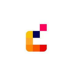 d letter pixel digital logo icon vector image