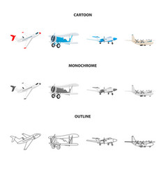 Design of plane and transport sign set of vector