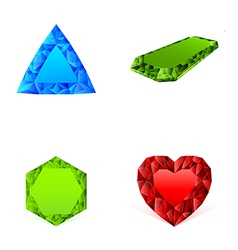 diamonds in different colors set vector image