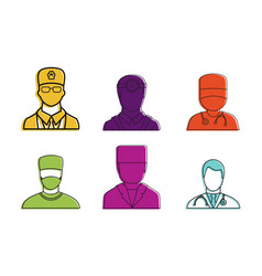 doctor avatar icon set color outline style vector image