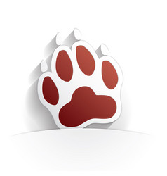 dog paw icon paper vector image