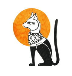 drawing of egyptian cat god bastet vector image