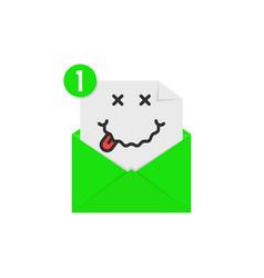 drunk emoji in green letter notification vector image