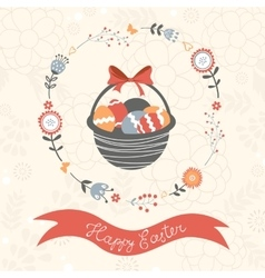Easter card with basket full of Easter eggs vector image