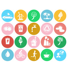 Ecological colorful labels collection on white vector