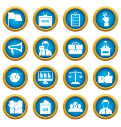 Election voting icons blue circle set vector