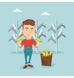 Farmer collecting corn vector