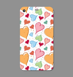 fashionable hand drawn hearts ornament for mobile vector image