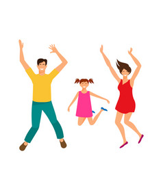 Father mother and daughter jumping happy family vector