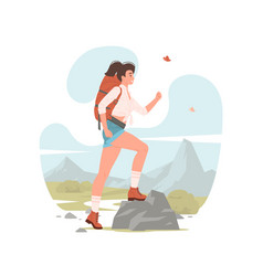 female hiker with backpack travelling through vector image