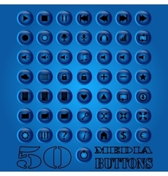 Fifty media Button set eps 10 vector image
