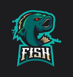 Fish gaming logo vector