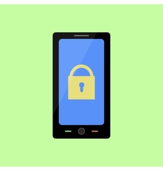 Flat style smart phone with lock vector image